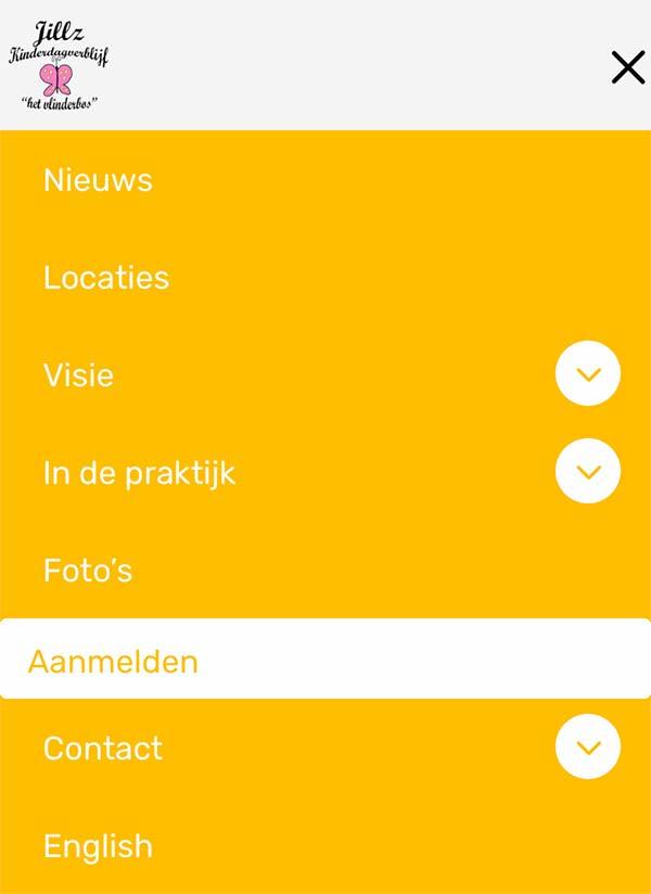 Mobiel menu met CTA